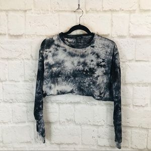 Rue 21 Black Tie Dye Long Sleeve Crop Top